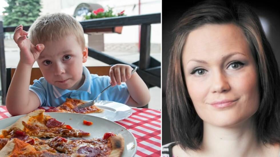 SYNES BARNEMENYENE ER FOR DÅRLIGE: - Kan dere ikke tilby barna noe annet enn hamburgere, pølser og pizza, spør tobarnsmamma June Marita Overå. Foto: NTB Scanpix / Privat