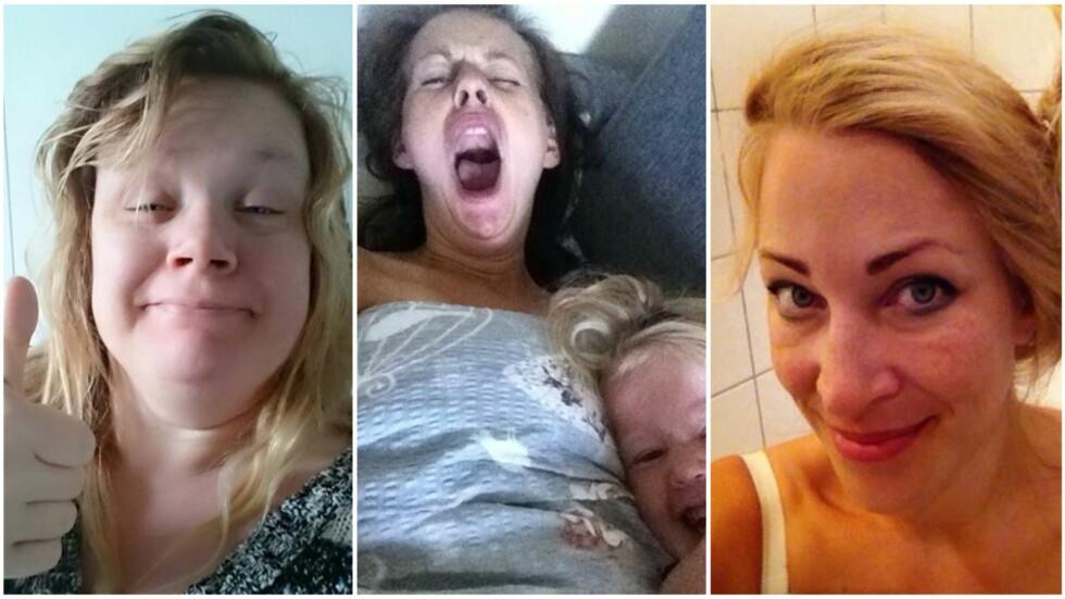 ÆRLIGE SELFIER: Trøtte tryner og lange gjesp - disse mødrene viser hvordan man virkelig ser ut når man står opp om morgenen! Foto: Privat