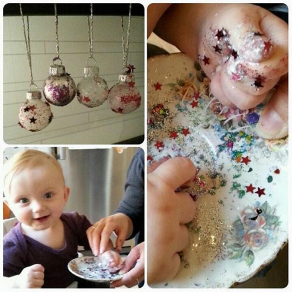 GLITRENDE PYNT: Fresh opp gamle julekuler med litt glitter! Foto: Mette / @Mette_83