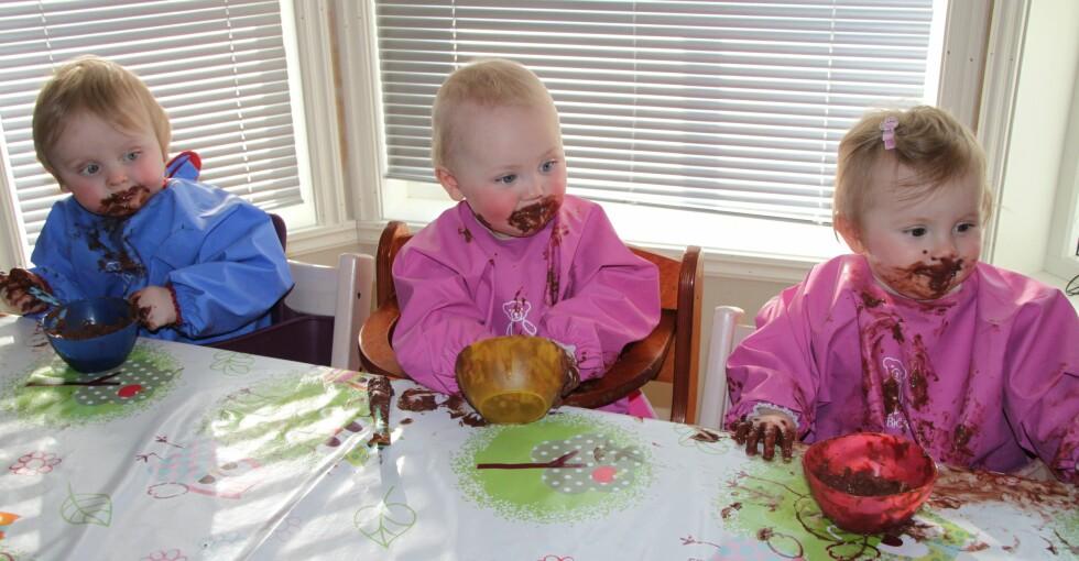 TRE PÅ EN GANG: Gir tre ganger så mye søl, men også tre ganger så mye kos.  Foto: Privat