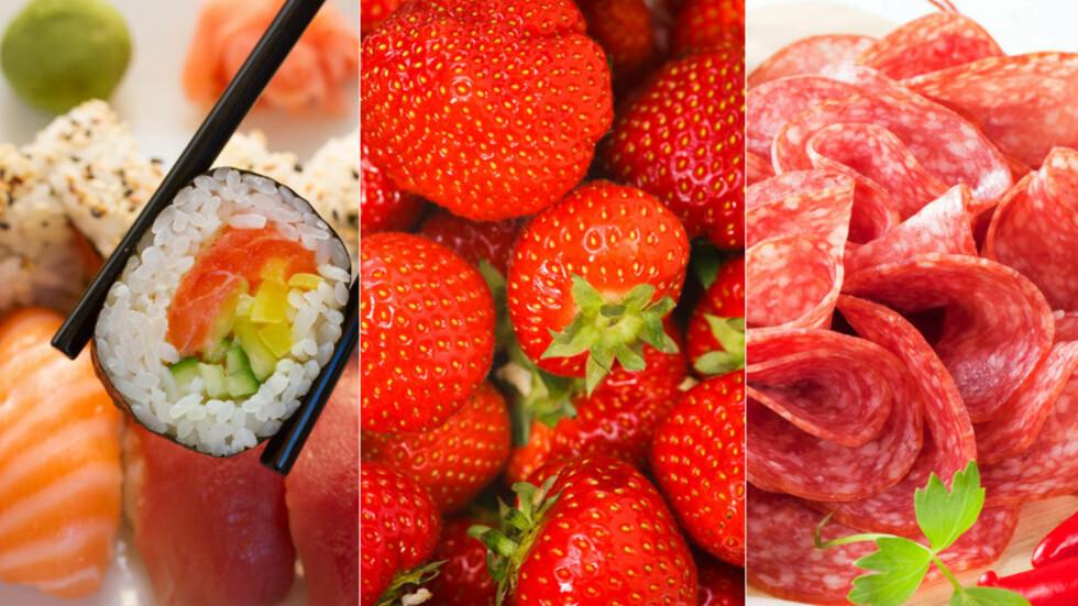 MAT GRAVIDE LURER PÅ OM DE KAN SPISE: Noe bør de avstå fra, andre  matvarer kan de spise med god samvittighet Foto: NTB scanpix