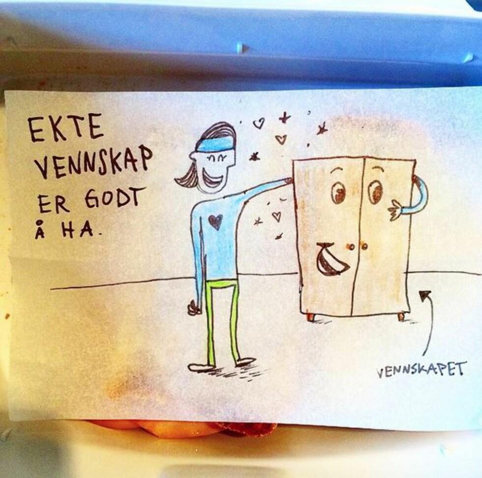 VENNSKAP: Alle matpakketegningene lages spontant hver morgen. Foto: instagram.com/kreativoli/