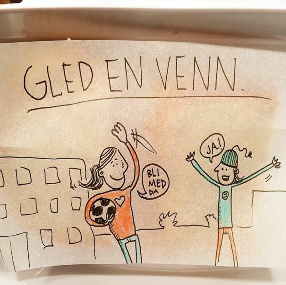 GLED EN VENN: Et fint budskap å få med seg i skolehverdagen. Foto: instagram.com/kreativoli/