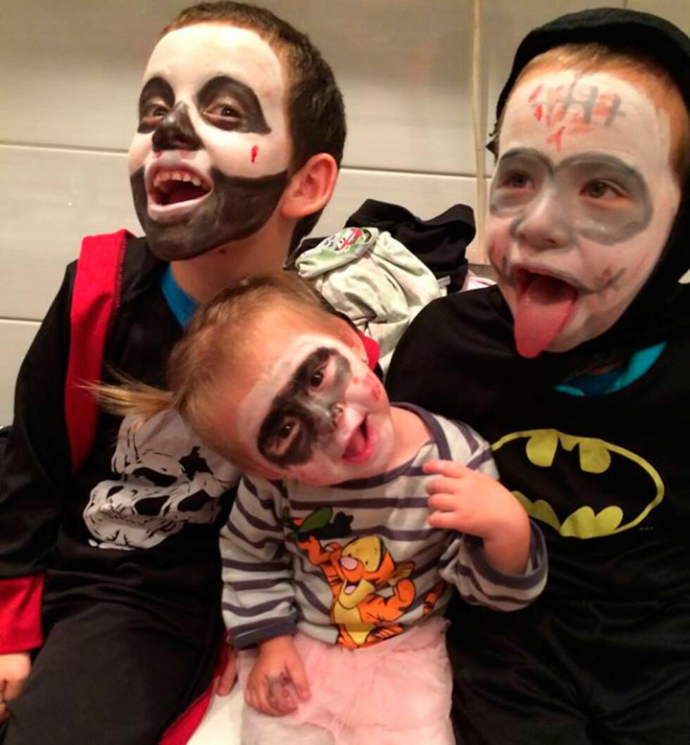 KLAR FOR HALLOWEEN: Trines tre barn på 9, 6 og 2 år gleder seg til Halloween. Foto: privat