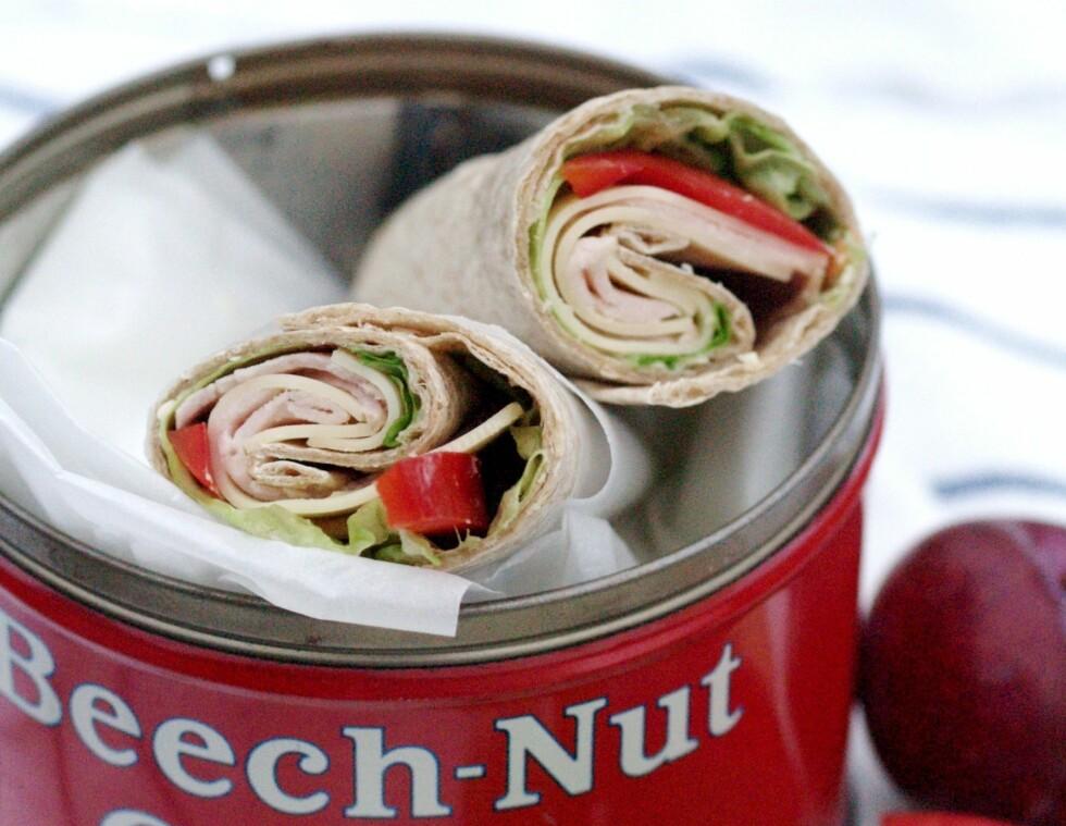 GROVE TORTILLA: Ina er tilhenger av å bruke noe annet enn brød i matboksen. Foto: Privat