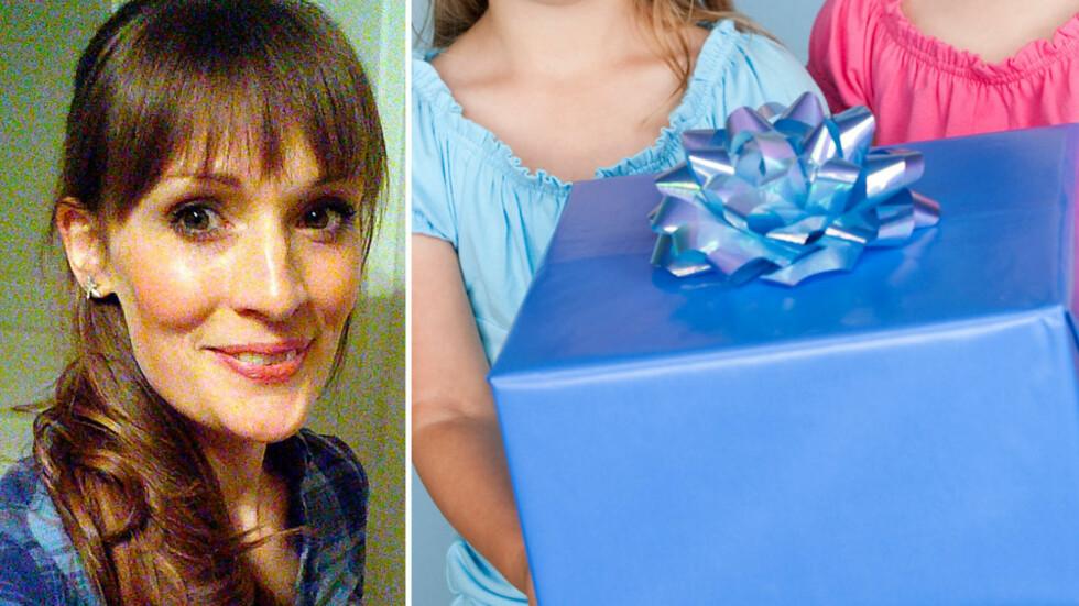 USUNN GAVEGALOPP: Blogger Elin mener det er på tide med maksbeløp på gaver. Foto: privat og NTB Scanpix
