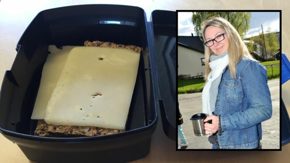 FORSVARER HVERDAGSMATPAKKEN: To skiver brød med gulost er mer enn godt nok. Mammablogger Marte mener trenden med jålete matpakker har tatt helt av. Foto: Privat