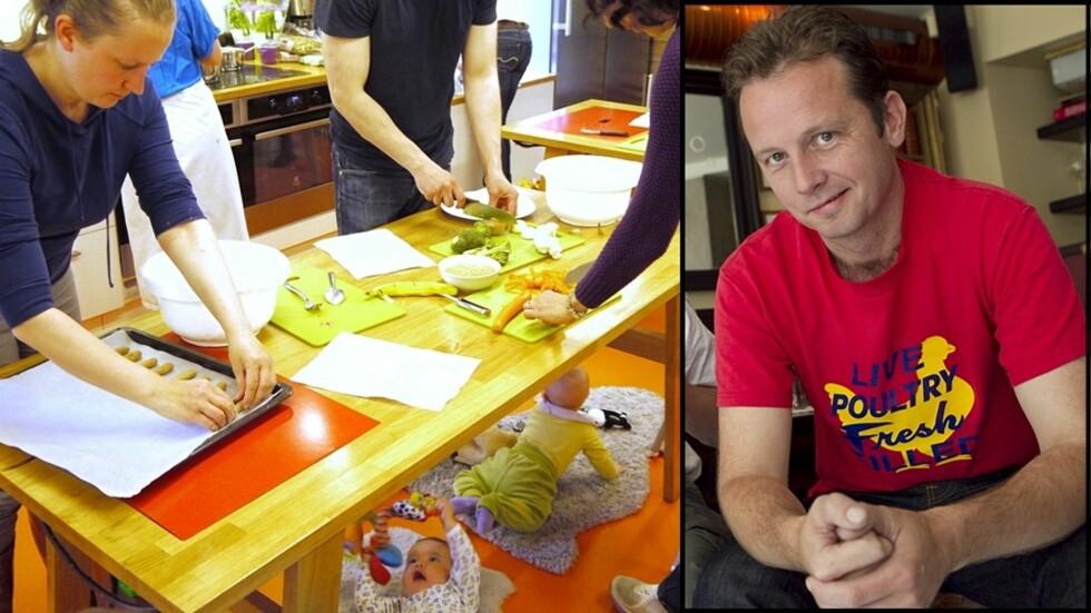 MED UNGENE UNDER BORDET: Tv-kokk Andreas Viestad er faglig ansvarlig hos Geitmyra Matkultursenter i Oslo, hvor det arrangeres kurs for foreldre som vil lære å lage barnematen selv. Foto: Mette Randem/ Innfelt: Heiko Junge/ NTB Scanpix