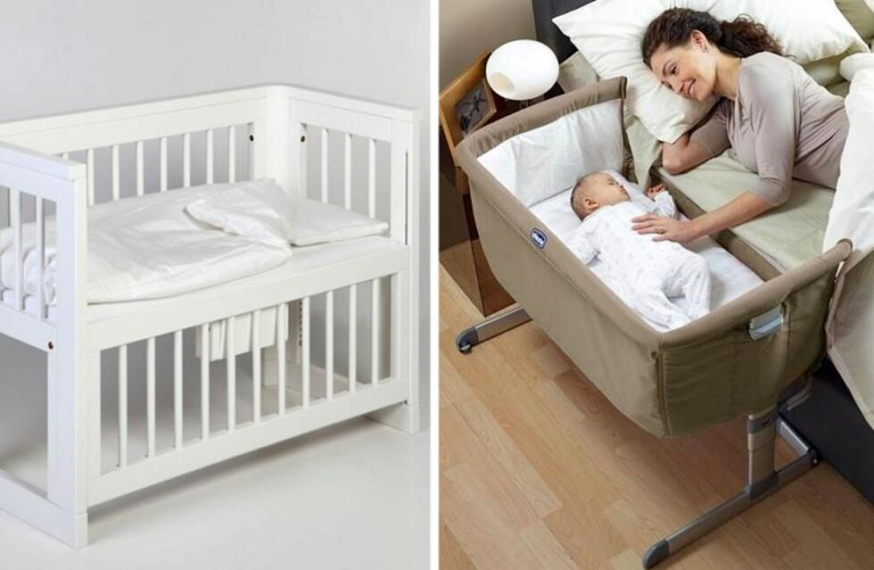 <strong>ET TRYGGERE ALTERNATIV:</strong> Flere produsenter selger babysenger som kan settes helt inntil foreldrenes seng. Foto: Produsentene