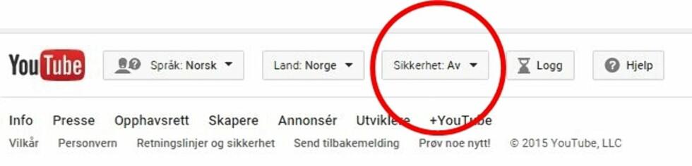 EGET VALG FOR SIKKERHET: Dette finner du helt nederst på YouTube forsiden. Foto: Skjermdump YouTube