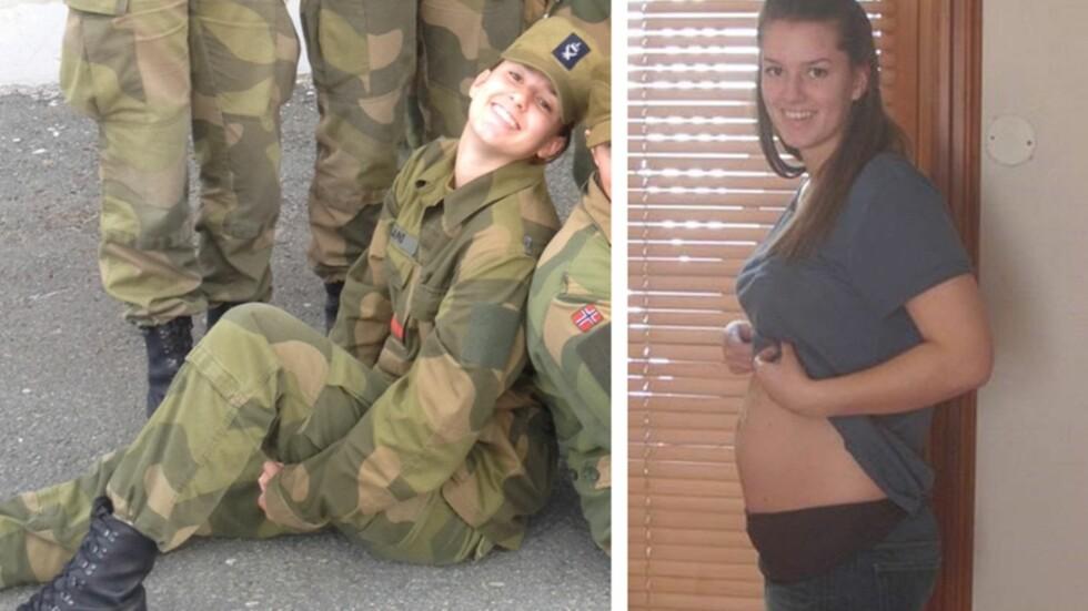 MED GRAVIDMAGE I FORSVARET: Til tross for mangel på «Mammauniform», kommer Synne til å fullføre førstegangstjenesten før hun føder. Foto: Privat