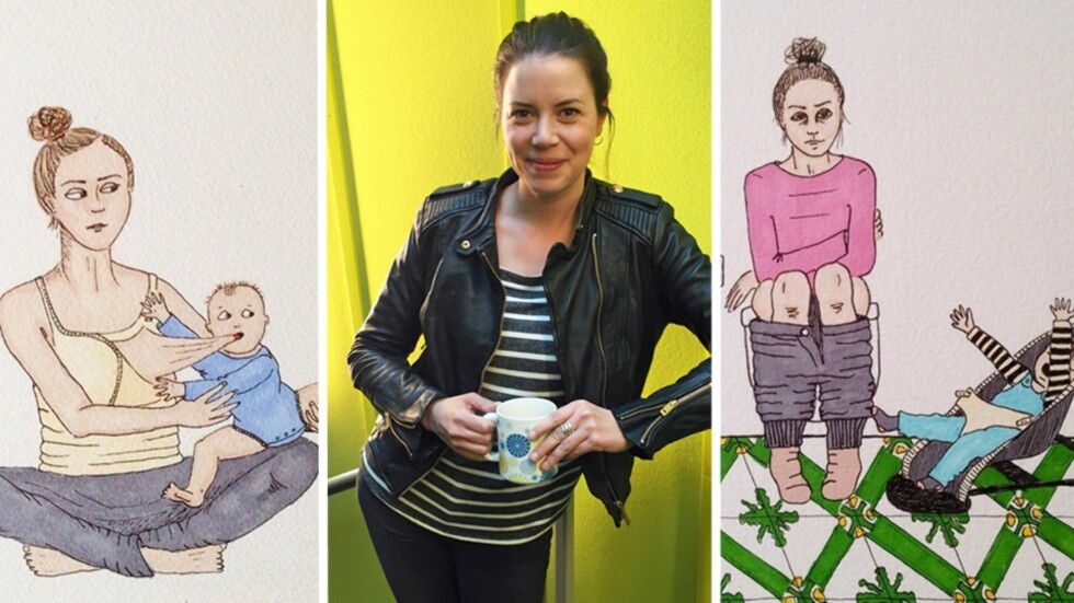 HUMORISTISKE EPISODER FRA LIVET SOM NYBAKT MAMMA: Jade Josefine Nordahl har fått mange positive tilbakemeldinger etter at hun begynte å dele tegningene sine på Instagram. Foto: Privat