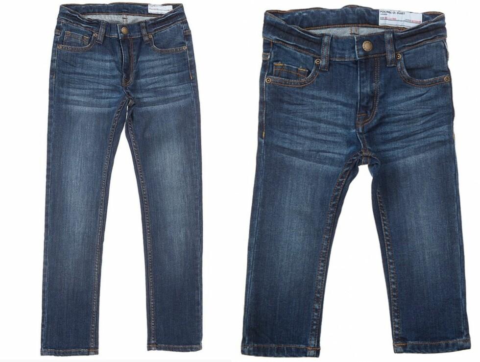 BEST I TEST: Vinneren av testen ble disse jeansene fra Polarn O. Pyret som finnes både til store og små barn. Foto: Produsenten
