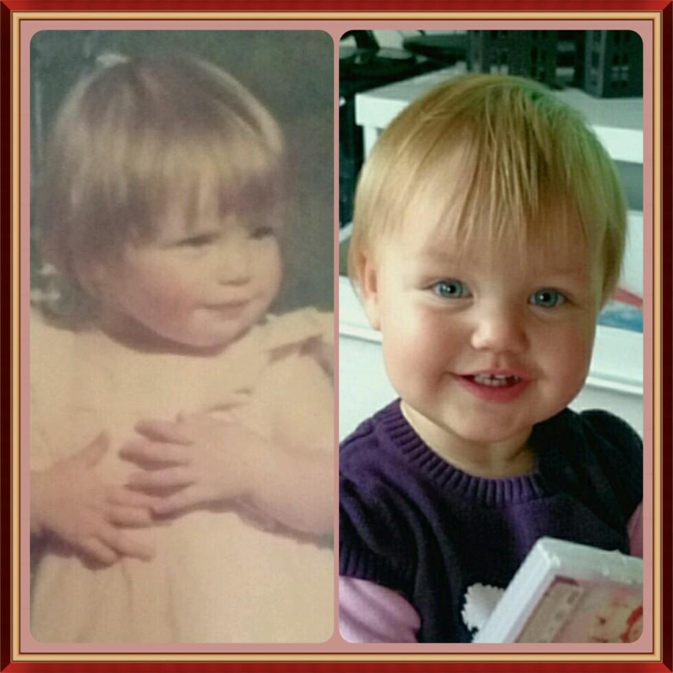 Johanne og datteren er svært like på barnebilder. Foto: privat