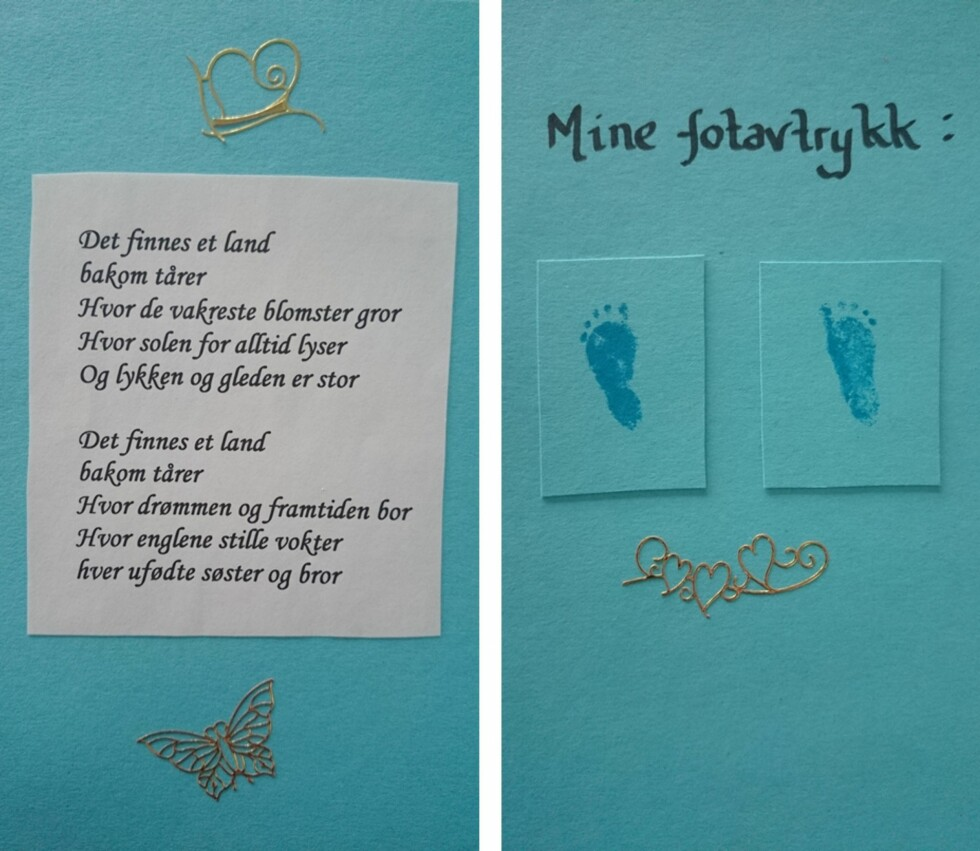 ET LITE MINNE: Moren fikk med seg et lite dikt og barnets fotavtrykk. Foto: Privat