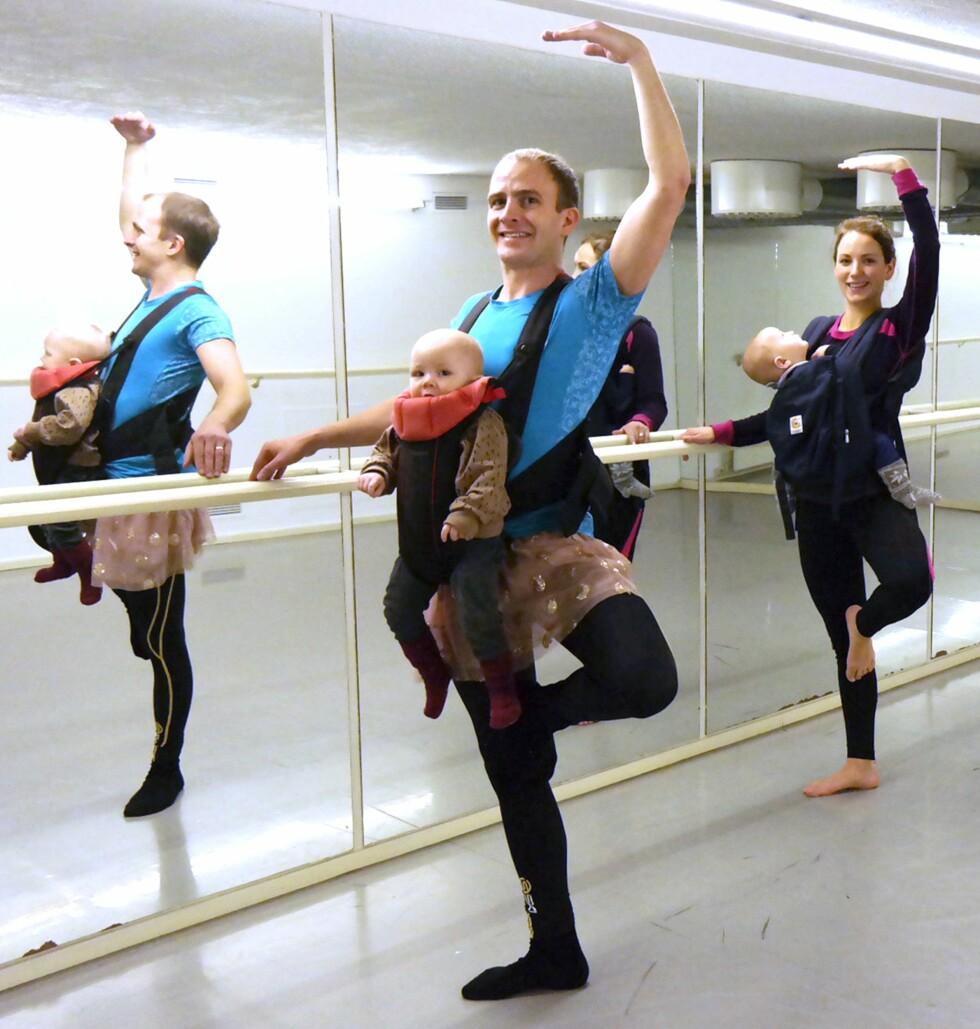BÆRESELE-BALLETT: Pappablogger Ole Morten, aka «Superpapsen», er en av dem som har testet ballett med baby på magen. Foto: Privat