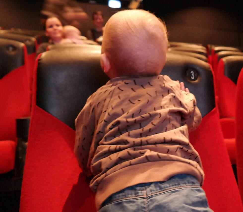 BABYKINO: Kan være en utfordring, men i alle fall gøy for de voksne. Foto: Privat
