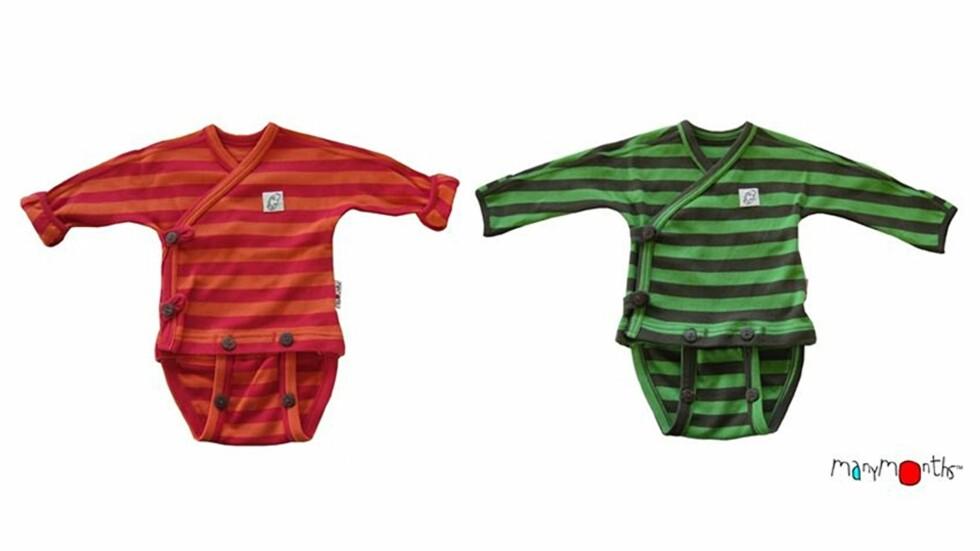 VOKSER MED BARNET: Babybodyene fra ManyMonths kan justeres i lengde og bredde.  Foto: Produsenten