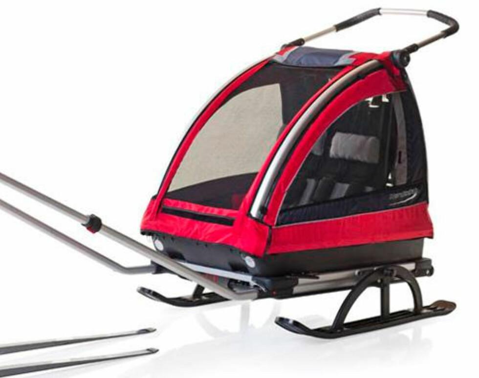 NORDIC CAB: Norskprodusert pulk som også kan brukes som sykkelvogn. Plass til to barn. Pris 5 290,- (Tilleggsutstyr må kjøpes for å bruke den som sykkelvogn)