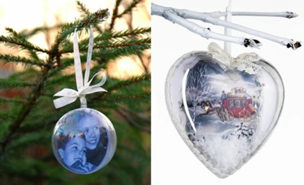 PERSONLIGE JULEGAVER: Julekuler med foto av barnebarna er enkelt å lage og vil bli satt stor pris på av besteforeldrene. Foto: Foreldremanualen