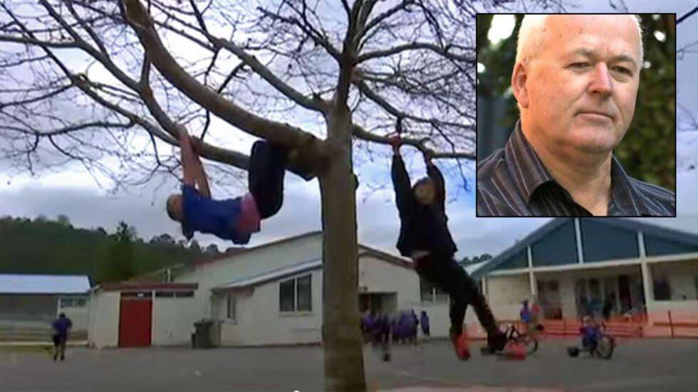 HØYT OPPE: På denne skolen er det en fordel for lærerne å ha gode nerver, her kan nemlig barna klatre så høyt de vil. Foto: Youtube