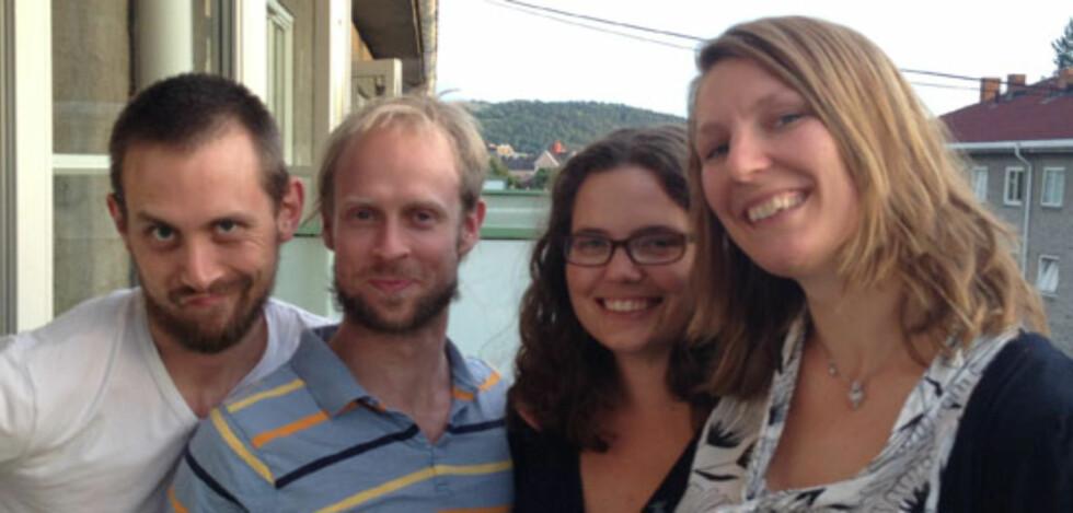 LAGET EN APP MED HVIT STØY: Fire venner med en god idé. Foto: PRIVAT
