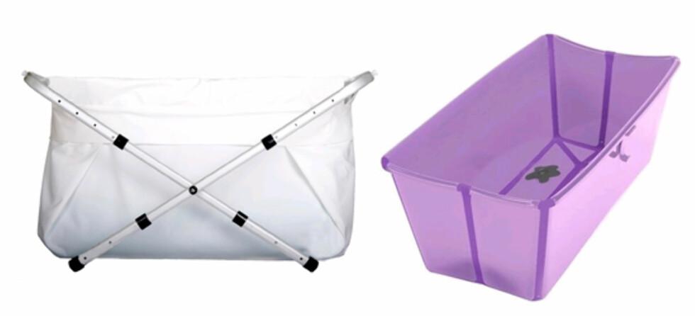 <strong>FLEKSIBELT:</strong> F.v. Bibabath Flexi er et sammenleggbart ar der man bader  en sekk som henger på et aluminiumssativ (kr 1399, Bebitoshop.no). Flexibath er et kar som kan legges sammen og tar liten plass når det er foldet. Kommer i hardplast (kr 399, Babyshop.no).