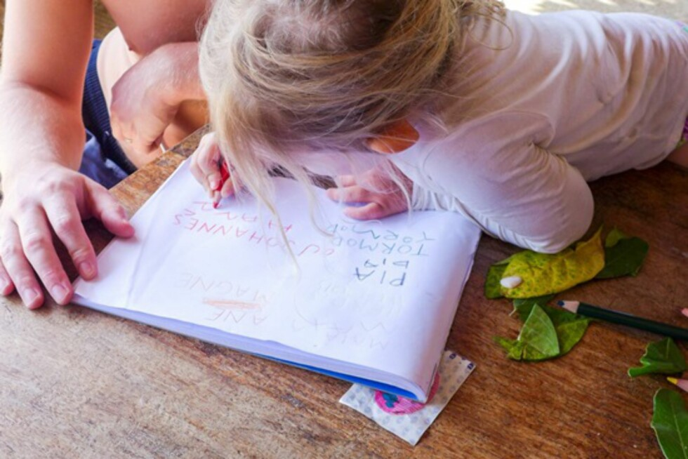 Skoleundervisning underveis: Viggo og Weni vurderer forskjellige alternativer. Foto: Privat