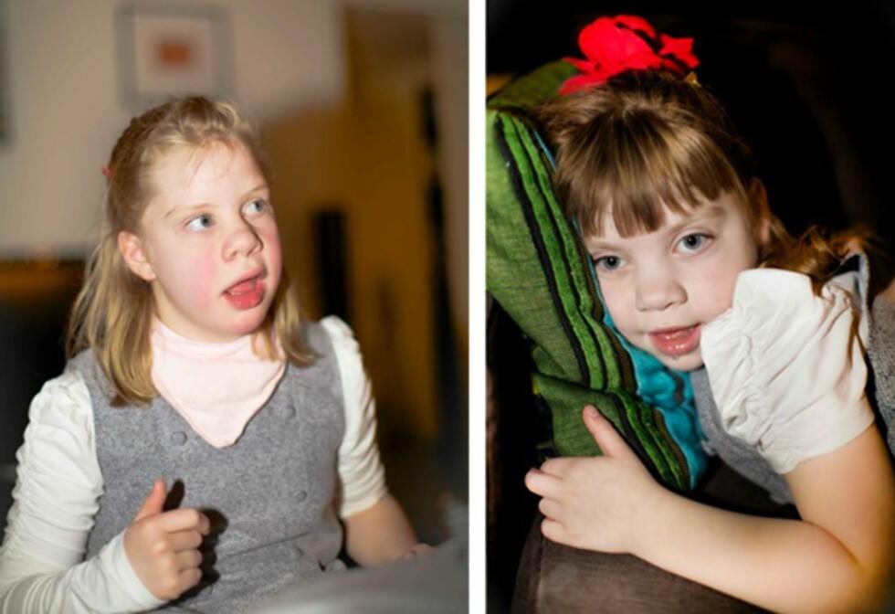 <strong>TRENGER PLEIE:</strong> Elena (10) og Constance Amalie (8) vil alltid være avhengig av omsorgspersoner. Foto: Privat