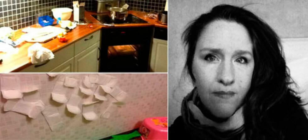 """Helenes (ekte) univers: Rotete kjøkkenbenker og barnas """"kunstprosjekter"""". Foto: PRIVAT"""