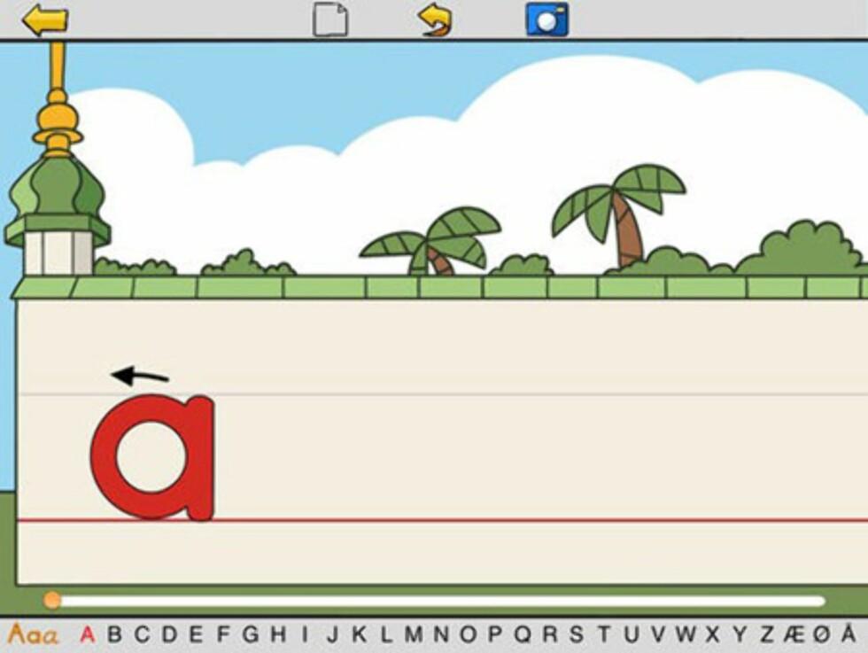 Appen lar barna øve på å skrive bokstaver. Foto: iTunes