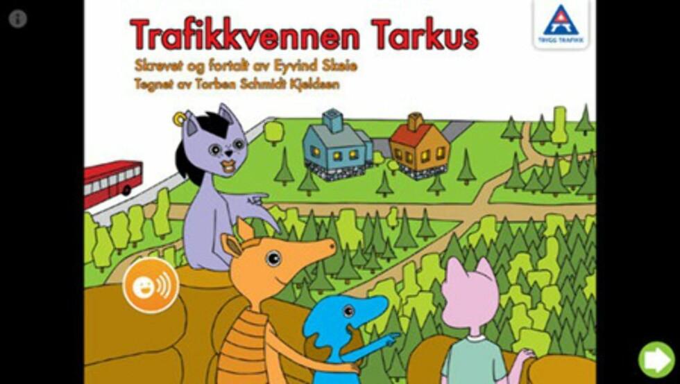 Trygg Trafikks gratis app: Trafikkvennen Tarkus er en kjent figur for mange barnehagebarn. Foto: iTunes