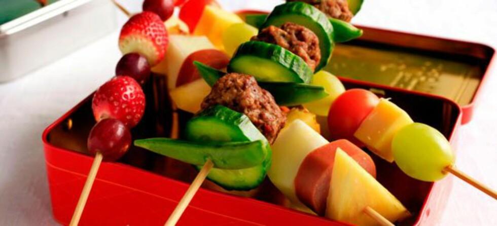 Brødspyd:: Brød, grønnsaker og kjøtt: På en ny måte! Foto: Frukt.no