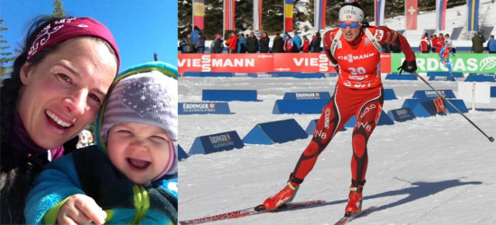 GJORDE DET PÅ SIN MÅTE: Skiskytter Ann Kristin Flatland var tilbake på pallen ti måneder etter at hun fødte datteren Anne.  Foto: Privat og Jon Gustavsson NSSF