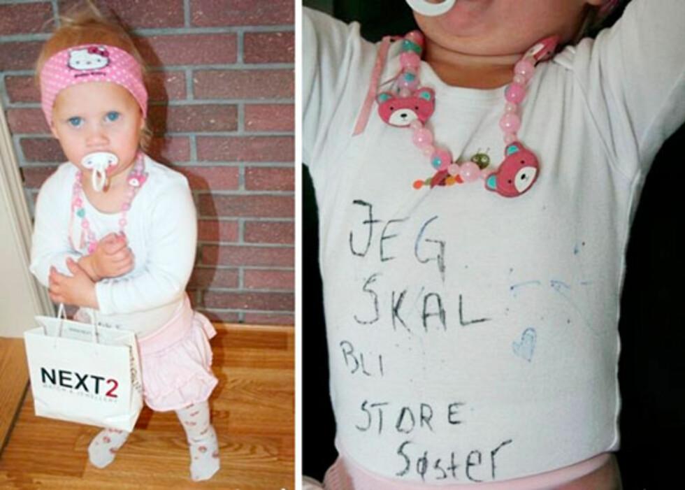 Martine klar for å bli storesøster: Foto: Veronika Døli