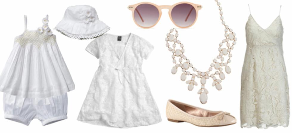 ROMANTISK: F.v. kjole med bukse under (str 60-94) fra Ellos, solhatt (kr 99, Ellos), blondekjole (str 104-179) fra Ellos, ballerinasko til mor (kr 699, Aldo), halssmykke fra Bik Bok (kr 199), solbriller fra Aldo (kr 699) og kjole til mor fra Ellos (kr 399).