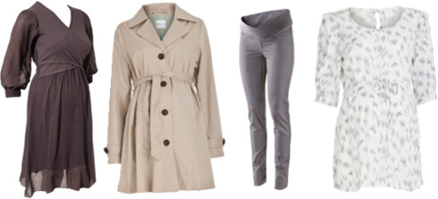 GRAVID I VÅR: F.v. mamma-kjole med ammeløsning (kr 1395, Paola Maria/Nelly.com), trench coat (kr 460, Mamalicious), bukser med elastisk magedel (kr 199, H&M) og bluse med mønster (kr 300, Mamalicious).