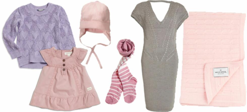 DUSE NYANSER: F.v. genser til jente (86-122) fra Lindex (kr 179), søt babykjole (50-74) fra Kappahl (kr 129), lue i bomull (kr 100, Nameit), strømper fra Nameit (kr 92), kjole til mor (kr 799, Redefine Your Identity) og babyteppe i kasjmir fra Wild Wool (kr 1450).