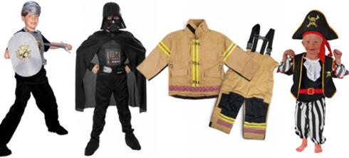 SUPERHELTER: F.v. rustning med sverd, skjold, hjelm og overdel (kr 199, Lekmer.noo), Darth Vader-kostyme (kr 299, Yes! Vi leker), brannmannuniform (kr 799, Yes! Vi leker) og sjørøverantrekk (kr 179).