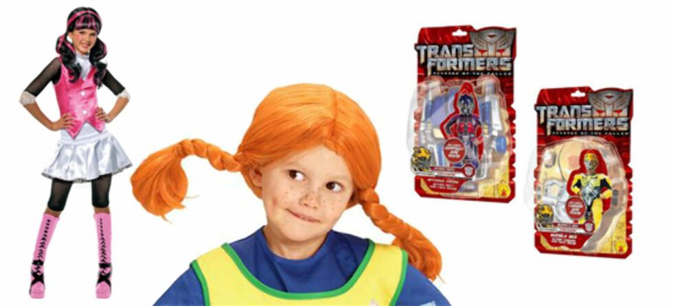 TØFFINGER: F.v. Monster High-kostyme (kr 128, Lekmer.no), Pippi-parykk (kr 179, Yes! Vi leker) og Transformers-kostymer med masker (kr 199 per stykk, Ringo leker).