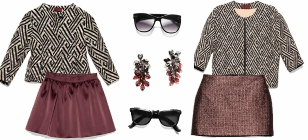 MAMMA OG DATTER: F.v. klær til datter, jakke kr 299, skjørt kr 179, solbriller (øverst) kr 49,50, øredobber til mor kr 79,50, solbriller (nederst) ,kr 79,50, jakke kr 499 og skjørt kr 299.