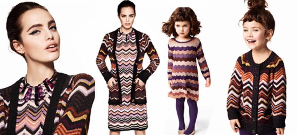 MISSONI: F.v. kjole kr 499, cardigan 599, kjede 299 (to bilder), kjole til barn kr 299 og cardigan til barn kr 299.