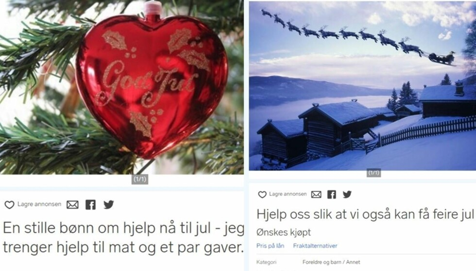 <strong>BER OM HJELP TIL JUL:</strong> Mange familier sliter øknomisk i jula og velger å bruke Finn.no til å be om hjelp: Foto: Skjermdump Finn