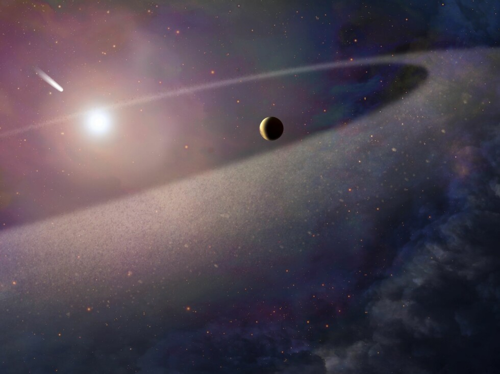 epa05780519 An undated handout photo made available by the European Space Agency (ESA) on 09 February 2017 shows an artist's impression of a massive, comet-like object falling towards a white dwarf. New observations with the NASA/ESA Hubble Space Telescope show evidence for a belt of comet-like bodies orbiting the white dwarf, similar to the Kuiper Belt in our own Solar System. The findings also suggest the presence of one or more unseen surviving planets around the white dwarf which may have perturbed the belt sufficiently to hurl icy objects into the burned-out star.  EPA/NASA, ESA, and Z. Levy (STScI) HANDOUT  HANDOUT EDITORIAL USE ONLY/NO SALES