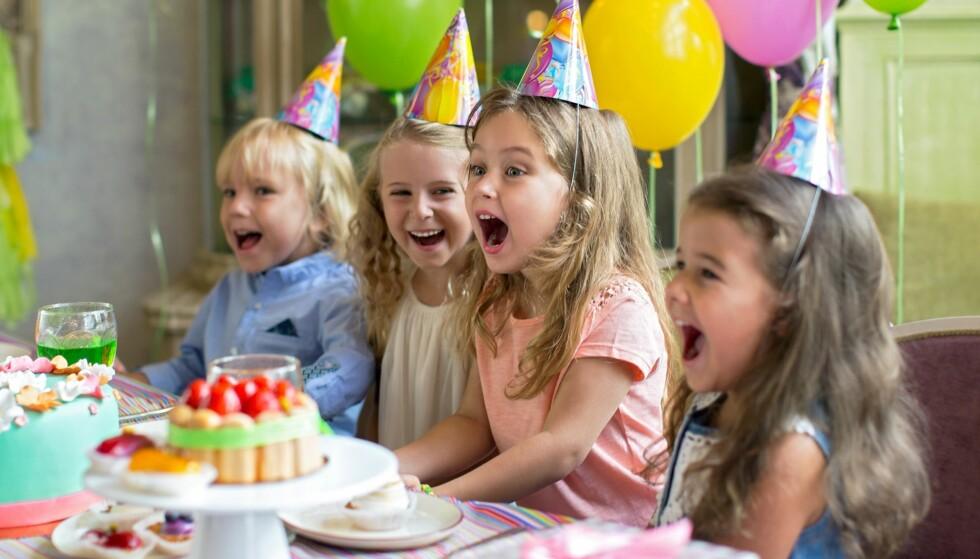 BARNEBURSDAG: I hvilken alder er det mest vanlig å starte med å invitere venner til barnebursdagen? Foto: Shutterstock/NTB scanpix