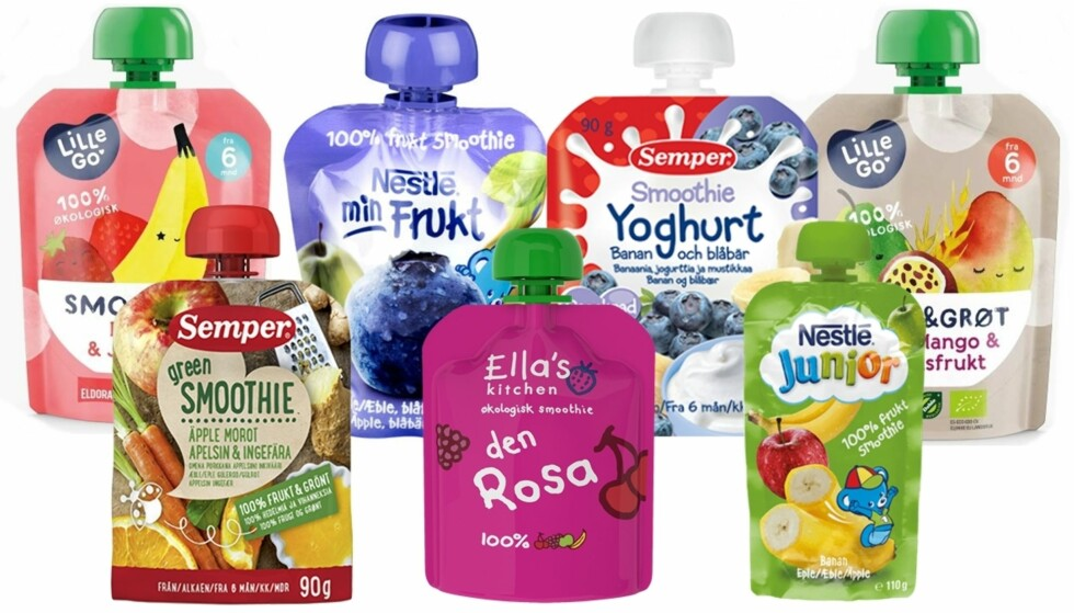 KLEMMEPOSER TIL BABY: I dag finnes det et stort utvalg klemmeposer med mat. Foto: Produsentene