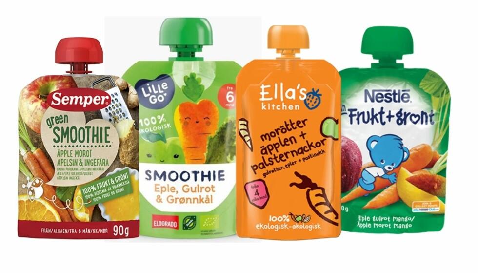 ANBEFALER DE MED GRØNNSAKER: Ved å velge klemmeposene som også inneholder grønnsaker, får barnet i seg mindre sukker og mer fiber. Foto: Produsentene