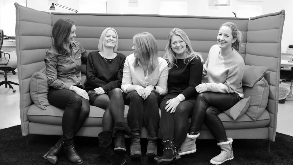 LEIER UT MARKEDSFØRERE: Fra venstre: Kjersti Rynning Borander, Tone Nordby, Trine Romskoug, Hanne Teigen Gjerde og Tonje Løw Hansen. Foto: Presse