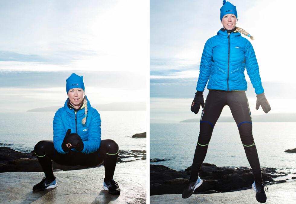 KNEBØY MED HOPP: Denne øvelsen gjør deg blant annet sterkere til å løpe i motbakker. Foto: Astrid Waller
