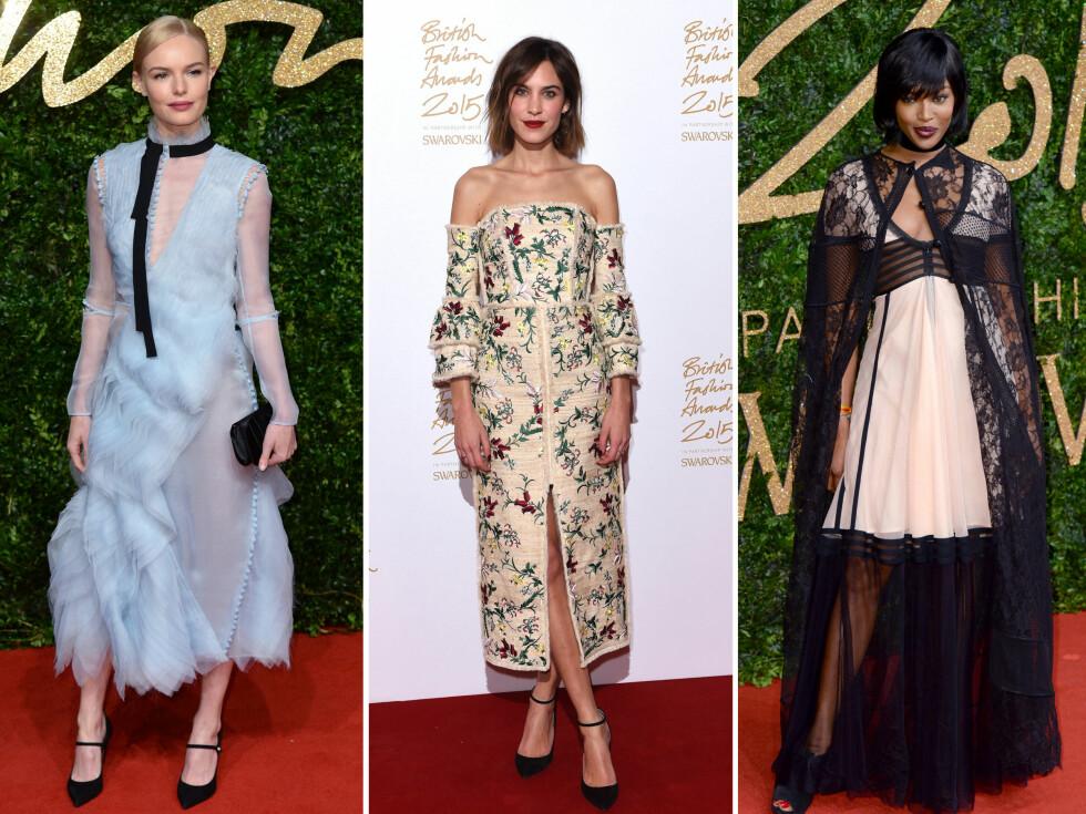 <strong>KRITIKK:</strong> Kate Bosworth (venstre), Alexa Chung (midten) og Naomi Campbell må tåle slakt for antrekkene de valgte til gårsdagens British Fashion Awards. Foto: Scanpix